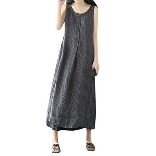 HYIRI Wild Oversize Pockets Cotton and Linen Loose Stripe Baggy Dress for Women Black