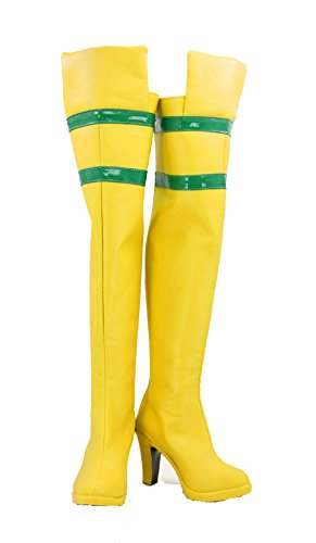 veribuy Halloween Women Hero Cosplay Shoes Yellow Costume Boots High Heel ()