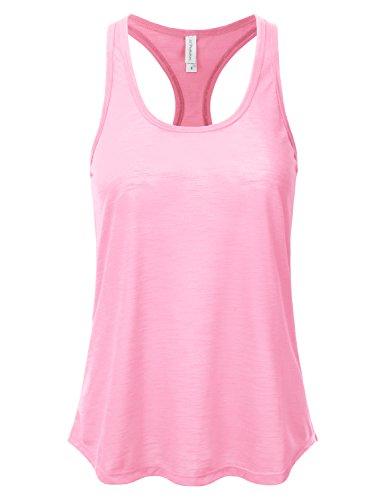JJ Perfection Women's Stretch Slub Knit Sheer Racerback Cami Tank Top LIGHTPINK L