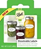Ball Dissolvable LABELS, 120 labels total (or two boxes of 60 labels), for canning or mason jars labels, freezer labels, washable, easily removable, gift tags, mason jar labels.