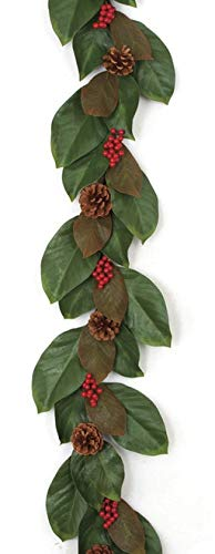 6 Foot Magnolia Garland with Pine Cones/Red Berries Autograph Foliages (Autograph Foliage Christmas)