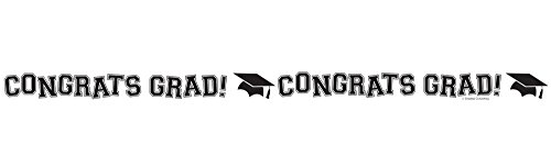 Grad Streamer (Creative Converting Congrats Grad Printed Crepe Paper Streamer Roll, 30', White)