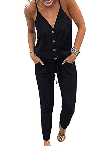 Adibosy Women V Neck Jumpsuits Overalls Strap Sleeveless Summer Casual Playsuit Rompers with Pockets Button Black L