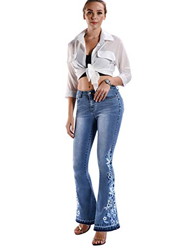 Women's Flared Fit Jeans Bell Bottom Denim Pants with Embroidered Details Embroidered Light Blue ()