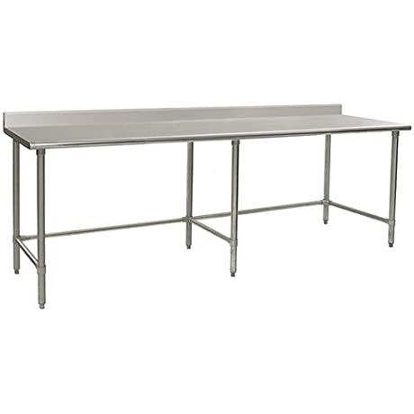 Eagle T3096GTB BS Stainless Steel Work Table With Backsplash Galvanized Tube Base 30 X 96 X 30
