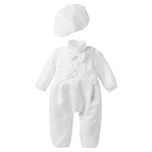 Baby Boy Christening Baptism Satin Bowtie Vested Romper Coverall Outfit with Cap Ivory Size 9M / 6-9Months
