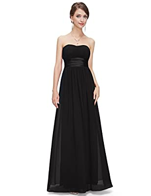 Ever-Pretty Women's Strapless Ruched Bust Chiffon Long Sexy Evening Dress 09955