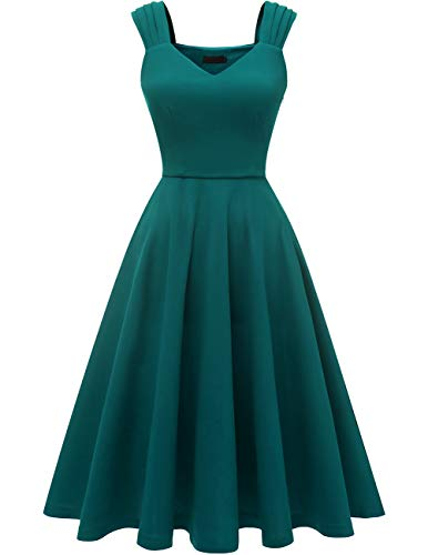 DRESSTELLS Women's Bridesmaid Vintage Tea Dress V-Neck Prom Party Swing Cocktail Dress Turquoise M]()