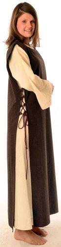 Mittelalter Braun mit Beige XL Damen mit reine Skapulier Baumwolle Kleid Leinenstruktur S naturbeige HEMAD Sq5gOIw