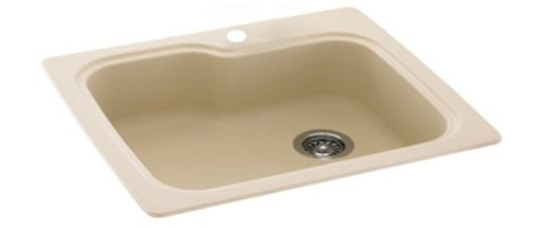 - Swanstone KS03322SB.051 Solid Surface 1-Hole Drop in Double-Bowl Kitchen Sink, 33-in L X 22-in H X 10-in H, Tahiti Sand