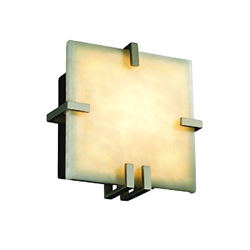 Justice Design Group Lighting CLD-5550-NCKL-LED1-1000 Clips Square Wall Sconce-Brushed Nickel-Clouds-LED