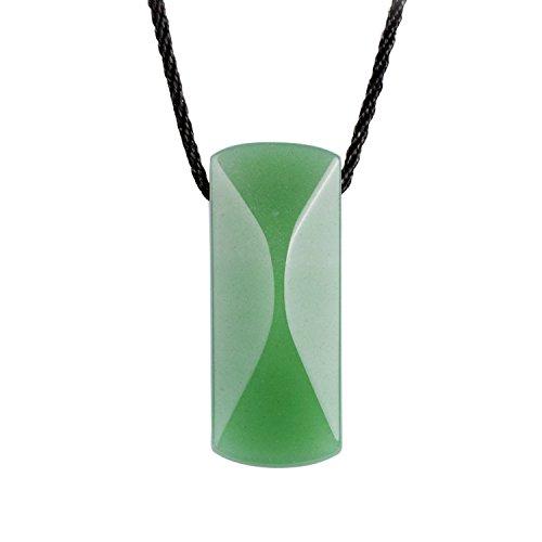 iSTONE Unisex AAAAA Genuine Green Jade Aventurine Lucky Stones Gems Pendant Necklace