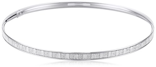 14k White Gold Italian 4 mm Tube Slip On Bangle with Baguette Style Glitter Bangle Bracelet by Amazon Collection