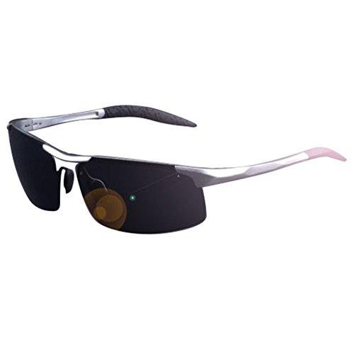 Silver Aluminium Aviator Polarized Sunglasses for Men Outdoor Driving Sun - Clubmaster Aluminium