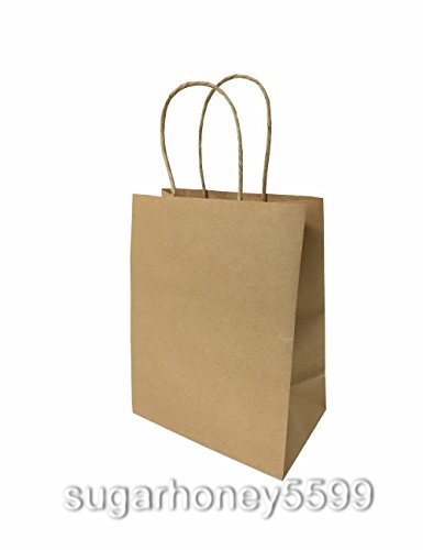 20 PCs Brown Small Kraft Paper Bags with Shopping Handles Gift Storage Bags - Shopping Hours Water Tower