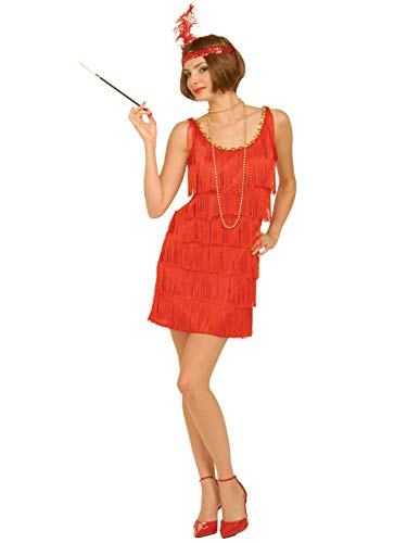 Forum Novelties Roaring 20's Flapper Dress and Headband, Red, X-Small/Small Costume (fit 2 to 6)