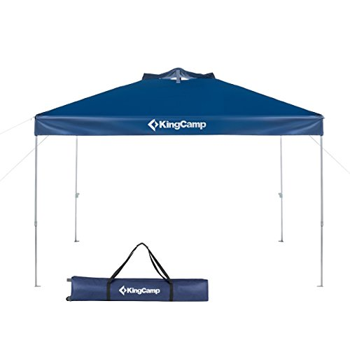 KingCamp 10 x 10 Feet Canopy Outdoor Sun Shelter Instant Folding Shade Portable Collapsible with Roller Bag, Dark Blue
