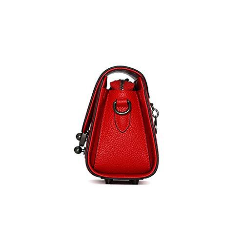 Redonda Red La Primera Salvaje Cerradura Cuero color Pequeño Bolso Moda De Red Baachang Capa Cuadrado Lychee Las Bandolera Mujeres 08HTw6