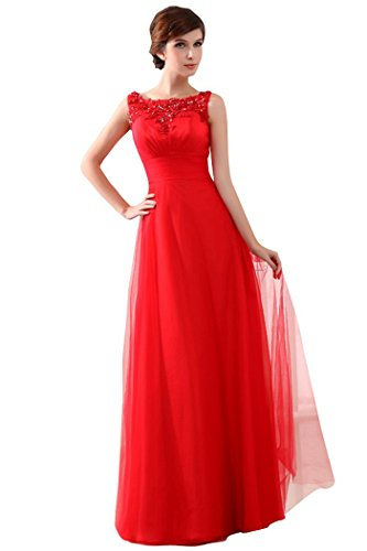Evening Emily Beauty Long the Lace O Dress Red of Formal Neck Mother bride Dresses Sleeveless d0pqxZCpw