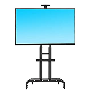 """NB North Bayou Mobile TV Cart TV Stand with Wheels for 55"""" - 80"""" Inch LCD LED OLED Plasma Flat Panel Screens up to 200lbs AVA1800-70-1P (Black)"""