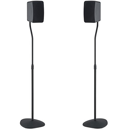 SANUS Adjustable Height Speaker Stand – Extends 28″ to 38″ – Holds Satellite & small Bookshelf Speakers (i.e. Bose, Harmon Kardon, Polk, JBL, KEF, Klipsch, Sony and others) – Set of 2 – Model: HTBS