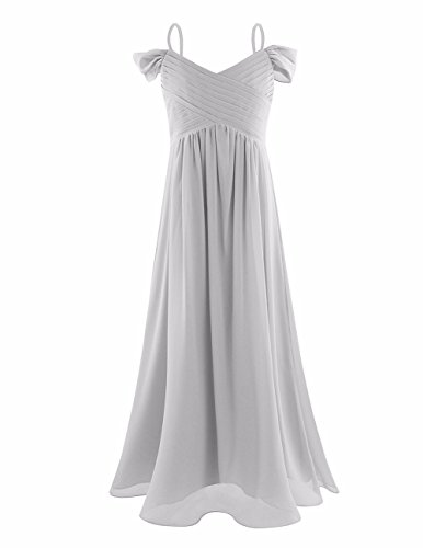 FEESHOW Big Girls Off-Shoulder Chiffon Junior Bridesmaid Wedding Party Flower Girl Dress Gray 8