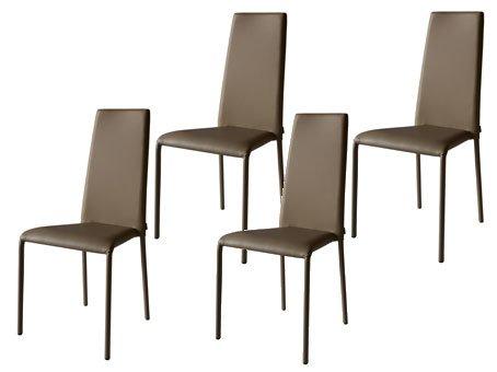 Sedie In Metallo Da Cucina : Set di sedie moderne in metallo completamente rivestite in