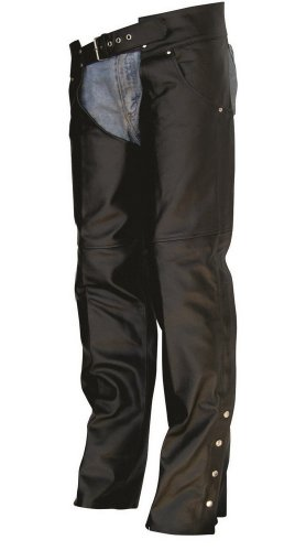 Unisex Adult AL2425 Plain Buffalo lined chaps X-Small Black by Allstate Leather
