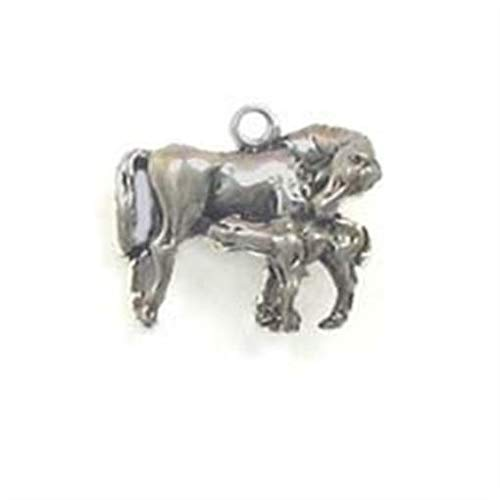 Pendant Jewelry Making/Chain Pendant/Bracelet Pendant Sterling Silver 3-D Mare with Nursing Foal Charm