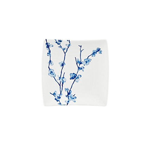 Oriental Blossom Collection, Square Plates (Set of 4), White/Blue