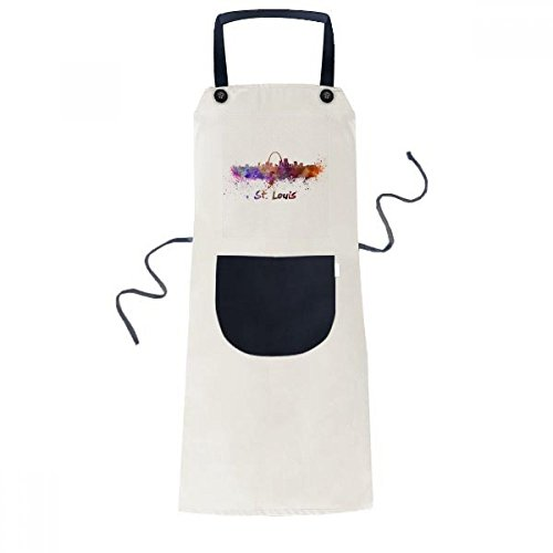 Louis St Apron - cold master DIY lab St.Louis America City Watercolor Cooking Kitchen Beige Adjustable Bib Apron Pocket Women Men Chef Gift