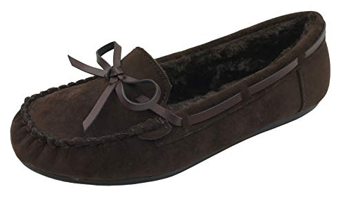 Blueberry Women' Faux Soft Suede Fur Lined Moccasin Loafer Slippers (Mocassin-21) Brown, 6 ()