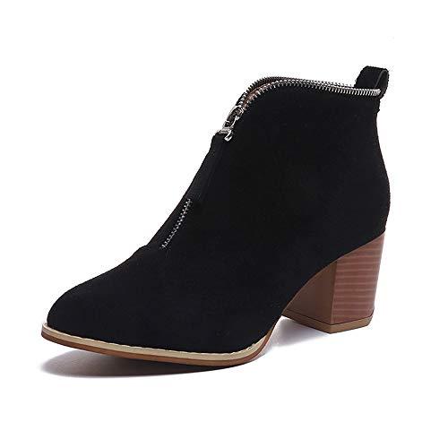 LIM&Shop ⭐ Short Zip-on Ankle Boot Western Cowboy Bootie Block Heel Heel Casual Platform Slip On Pumps with Pull-Up Tabs - Durashocks Explorer