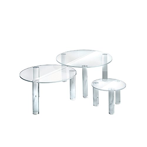 Retail Set of 3 Clear Round Acrylic Riser Display