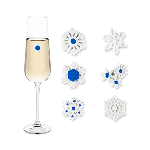 Cork & Leaf Magnetic Wine Glass Charms (Set of 6), Wine Glass Tags, Winter Snowflake Wine Charms - Wine Lovers Gift, Christmas, Holiday & Birthday Parties, Martini Drinking Glass Markers for Adults