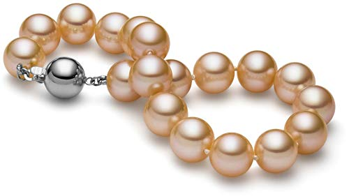 HinsonGayle AAA GEM 8.5-9mm Naturally Pink Round Freshwater Cultured Pearl Bracelet 14K White Gold