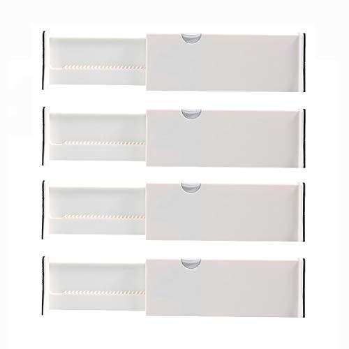 Kingrol 4-Pack Adjustable Drawer Organizer Dividers with Foam Ends - for Kitchen, Dresser, Bedroom, Bathroom, Office Storage