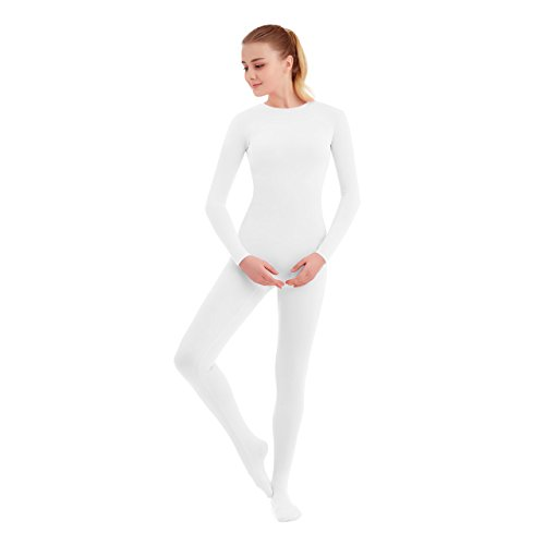 SUPRNOWA Unisex Crew Neck Footed Lycra Spandex Long Sleeve Unitard (XX-Large, (Long Sleeve White Leotard Girls Costumes)