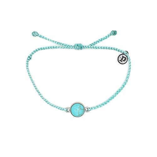 Pura Vida Silver Riviera Stone Seafoam Bracelet - Waterproof, Artisan Handmade, Adjustable, Threaded, Fashion Jewelry for Girls/Women