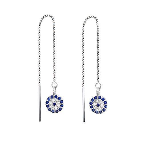 FarryDream 925 Sterling Silver Evil Eye Dangle Earrings Chain for Women Round Eye Threader ()