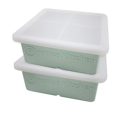 (Praticube Large Ice Cube Mold - 4 Large 2.25 Inch Ice Cubes - Prevent Diluting Your Scotch, Whiskey, Cocktails - 2 Pack with Lids)