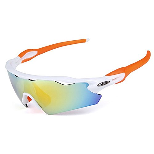 Lorsoul UV400 Polarized Sunglasses Sports Glasses with 5 Interchangeable Lenses for Men Women Outdoor Sports Cycling Golf Fishing Baseball Running (White&Orange)