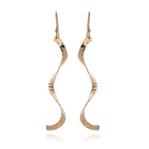 Yellow 14k Gold-Filled Curved Twist or Curls Earring Long Dangle Earrings for Women ()