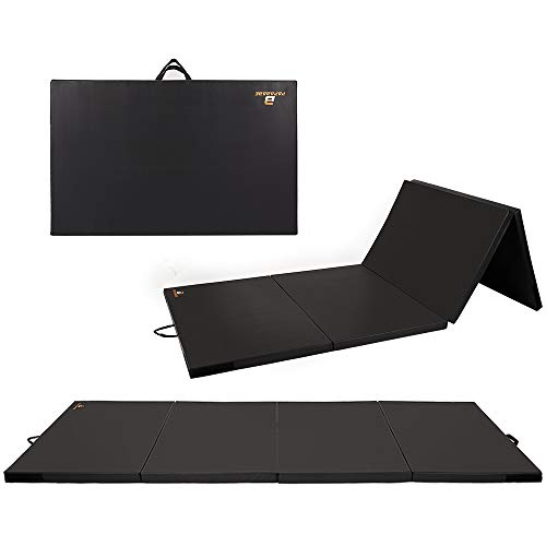 PAPABABE Tri-Fold Folding Thick Gymnastics Tumbling Mats with Carrying Handles for MMA, Gymnastics, Stretching, Core Workouts (4X10FT)