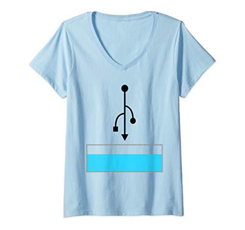 Womens Easy Halloween Costume Idea Couple USB Port  V-Neck T-Shirt