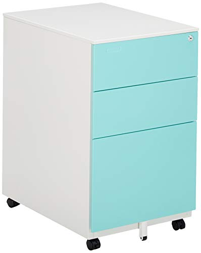 Aurora FC-103BL Fully Assembled Modern Soho Design 3-Drawer Metal Mobile File Cabinet with Lock Key, White/Aqua Blue