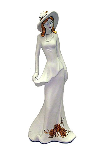 Fine Victorian Fashion Icon Porcelain Lady In White with Golden Accents Decoration Figurine