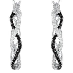 Boucles d'oreilles créoles avec spinelle noire et diamant