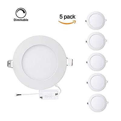 Pack of 5 Units Dimmable Round LED Panel Light,Ultra-thin Recessed Ceiling Light,Round led Flat panel light Downlight with 120V Isolation Driver for Home, Office, Commercial Lighting