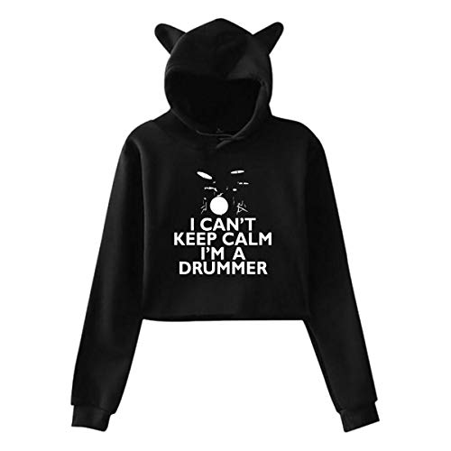 - Womens Cat Ear Crop Top Hoodie Sweater, Cute I Can't Keep Calm I'm A Drummer Long Sleeve Sports Tops, S-XXL Black